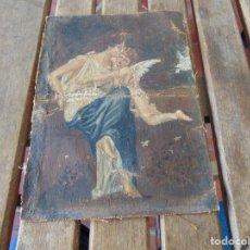 Arte: PEQUEÑA PINTURA OLEO SOBRE LIENZO VIRGEN CON ANGEL NIÑO FIRMADO RESTAURAR. Lote 183808256