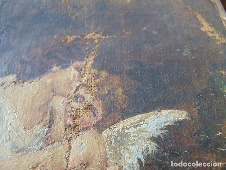 Arte: PEQUEÑA PINTURA OLEO SOBRE LIENZO VIRGEN CON ANGEL NIÑO FIRMADO RESTAURAR - Foto 3 - 183808256