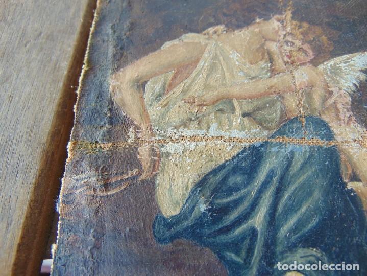 Arte: PEQUEÑA PINTURA OLEO SOBRE LIENZO VIRGEN CON ANGEL NIÑO FIRMADO RESTAURAR - Foto 6 - 183808256