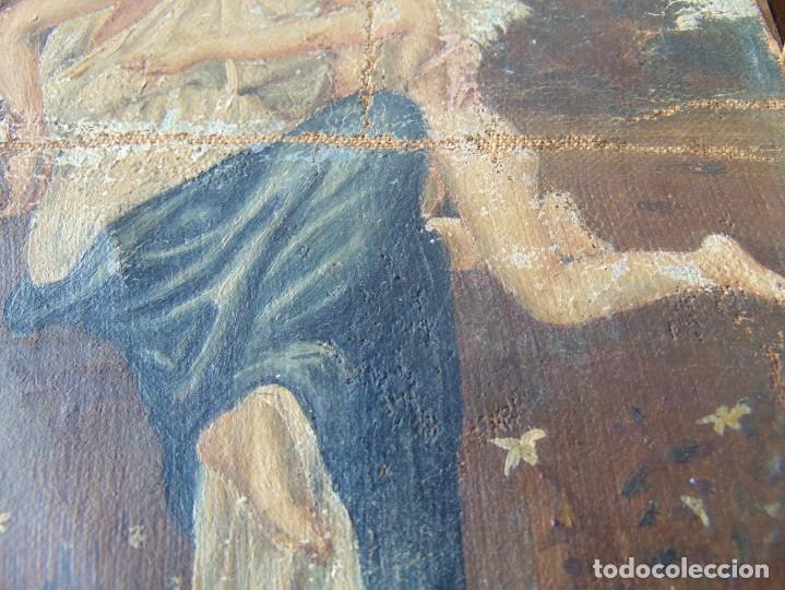 Arte: PEQUEÑA PINTURA OLEO SOBRE LIENZO VIRGEN CON ANGEL NIÑO FIRMADO RESTAURAR - Foto 8 - 183808256