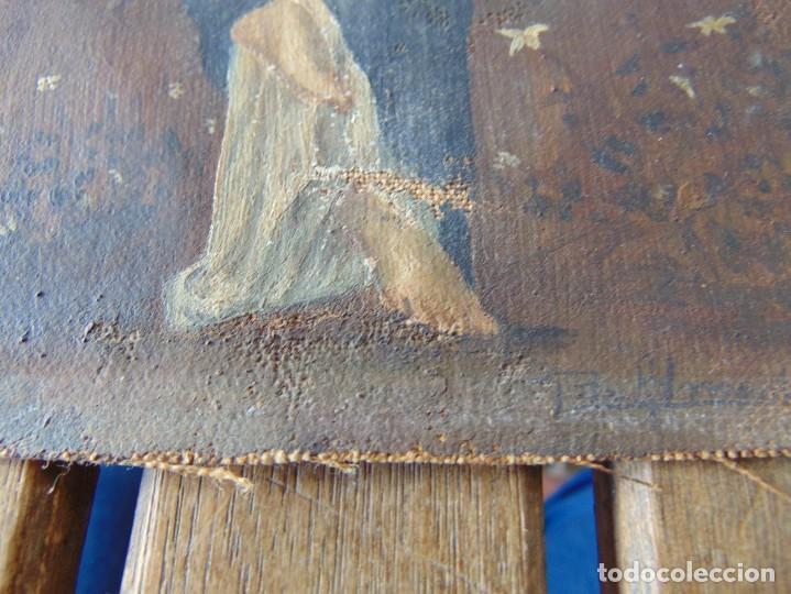 Arte: PEQUEÑA PINTURA OLEO SOBRE LIENZO VIRGEN CON ANGEL NIÑO FIRMADO RESTAURAR - Foto 9 - 183808256