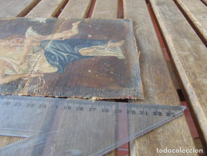 Arte: PEQUEÑA PINTURA OLEO SOBRE LIENZO VIRGEN CON ANGEL NIÑO FIRMADO RESTAURAR - Foto 15 - 183808256