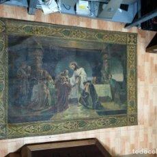 Arte: JESUS Y SUS APOSTOLES LIENZO SIN MARCO FIRMADO.. Lote 183809213