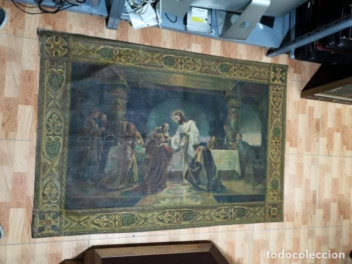 Arte: Jesus y sus Apostoles lienzo sin marco firmado. - Foto 2 - 183809213