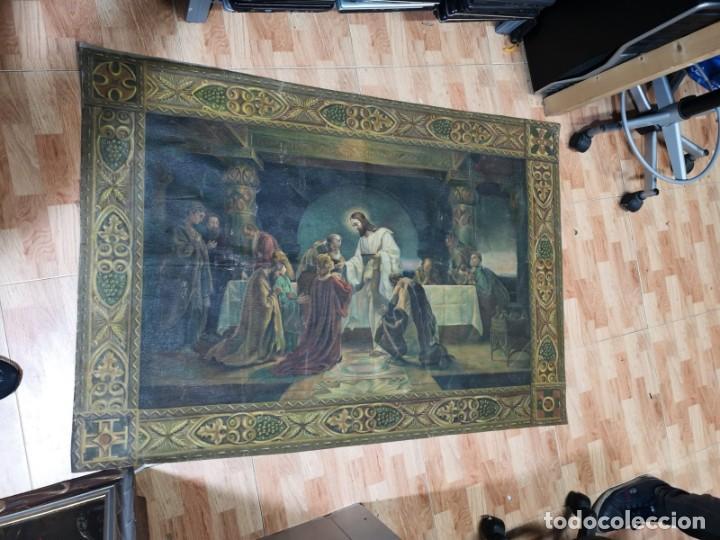 Arte: Jesus y sus Apostoles lienzo sin marco firmado. - Foto 4 - 183809213