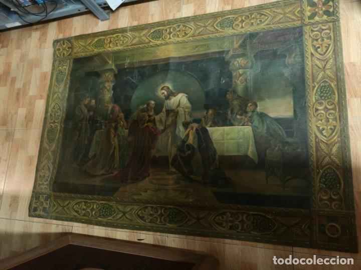 Arte: Jesus y sus Apostoles lienzo sin marco firmado. - Foto 5 - 183809213
