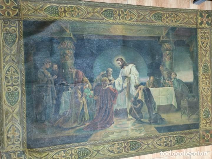 Arte: Jesus y sus Apostoles lienzo sin marco firmado. - Foto 6 - 183809213