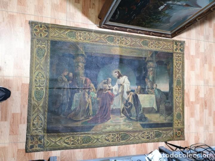 Arte: Jesus y sus Apostoles lienzo sin marco firmado. - Foto 7 - 183809213
