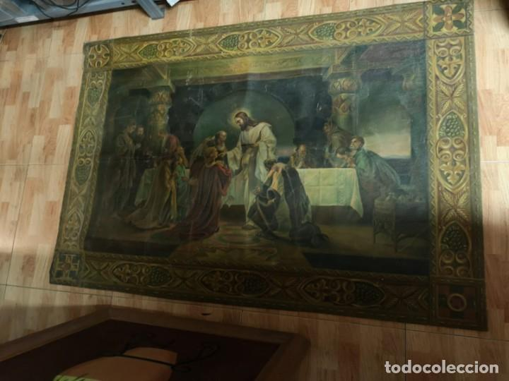 Arte: Jesus y sus Apostoles lienzo sin marco firmado. - Foto 8 - 183809213