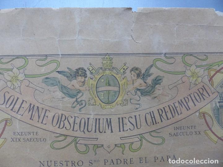 Arte: SOLEMNE OBSEQUIUM IESU CH. REDEMPTORI, NUESTRO SMO. PADRE EL PAPA LEON XIII - AÑO 1900 - Foto 4 - 183822578