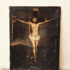 Arte: CRISTO CRUCIFICADO, S. XVII. ÓLEO SOBRE LIENZO.. Lote 183827686