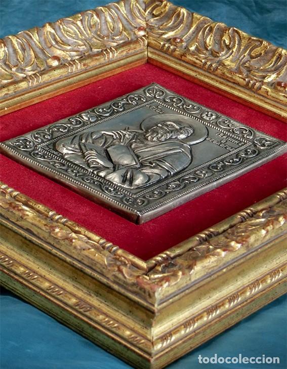 Arte: PRECIOSO ICONO RELIGIOSO - LATÓN REPUJADO - ARTE RELIGIOSO - ENMARCADO - - Foto 3 - 183830315