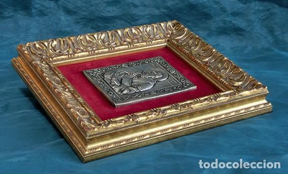 Arte: PRECIOSO ICONO RELIGIOSO - LATÓN REPUJADO - ARTE RELIGIOSO - ENMARCADO - - Foto 11 - 183830315