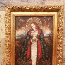 Arte: PRECIOSA VIRGEN CUZQUEÑA - ÓLEO SOBRE LIENZO - BONITO MARCO DORADO - ARTE RELIGIOSO CUSQUEÑO. Lote 183831967