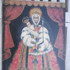 Arte: MAGNIFICO CUADRO ANTIGUO DE VIRGEN CON NIÑO FIRMADA. Lote 183832512