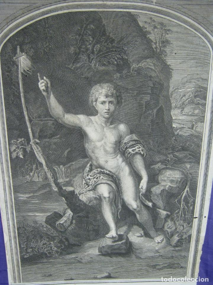 Arte: Rafael Sanzio. Grabado antiguo San Juan Bautista EXQUISITO !!! - Foto 2 - 183863997