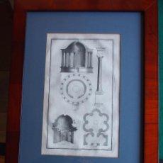 Arte: MAGNÍFICO GRABADO FRANCÉS ARQUITECTURA TEMPLO. ELEGANTE MARCO. HACIA 1800.. Lote 183944071