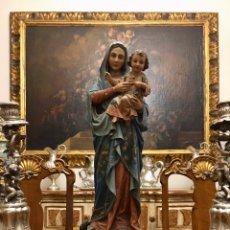 Arte: VIRGEN CON NIÑO, TALLA DE MADERA. S.XIX. ESCUELA ESPAÑOLA.. Lote 183956097