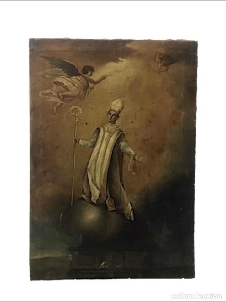 SAN NARCISO , PATRÓN DE GERONA, MILAGRO DE LAS MOSCAS, SIGLO XIX (Arte - Arte Religioso - Pintura Religiosa - Oleo)