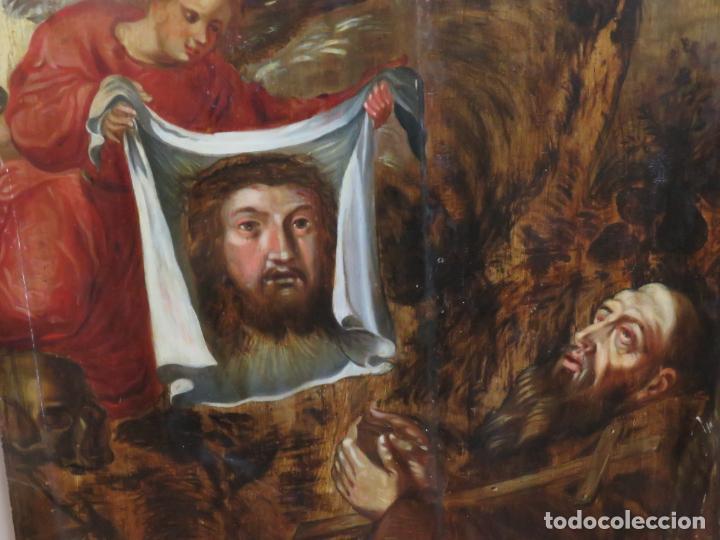 Arte: ESCUELA ESPAÑOLA DEL SIGLO XV-XVI RETABLO DEVOCIONAL EX-VOTO, OLEO SOBRE TABLA ONDULADA - Foto 3 - 184079152