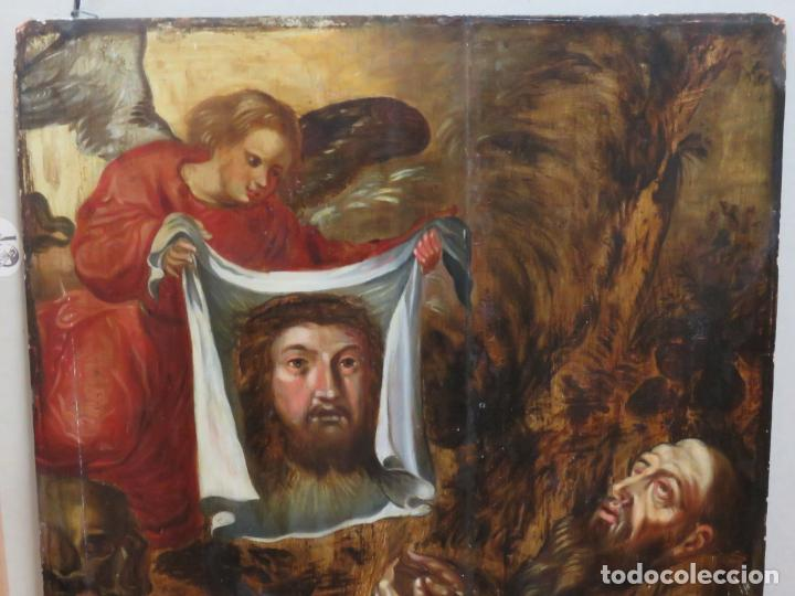 Arte: ESCUELA ESPAÑOLA DEL SIGLO XV-XVI RETABLO DEVOCIONAL EX-VOTO, OLEO SOBRE TABLA ONDULADA - Foto 6 - 184079152