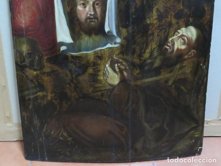 Arte: ESCUELA ESPAÑOLA DEL SIGLO XV-XVI RETABLO DEVOCIONAL EX-VOTO, OLEO SOBRE TABLA ONDULADA - Foto 9 - 184079152