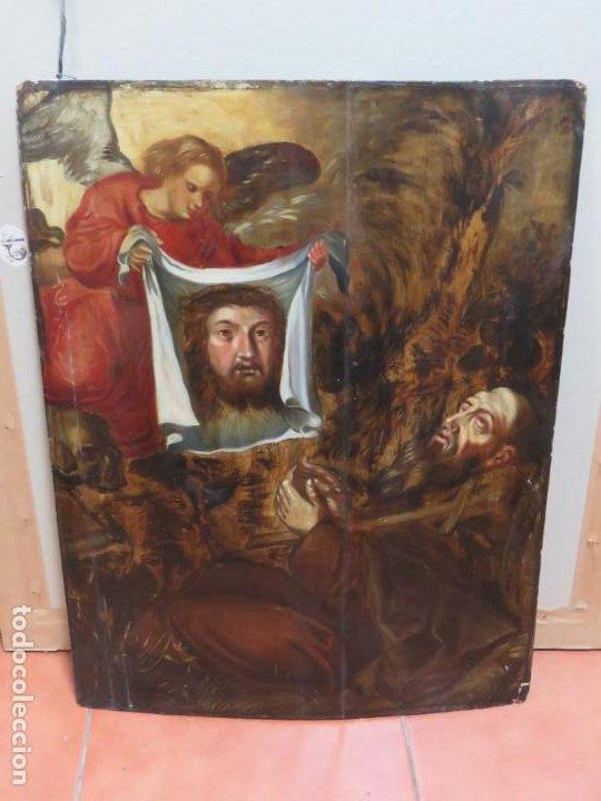 ESCUELA ESPAÑOLA DEL SIGLO XV-XVI RETABLO DEVOCIONAL EX-VOTO, OLEO SOBRE TABLA ONDULADA (Arte - Arte Religioso - Pintura Religiosa - Oleo)