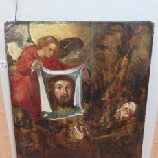 Arte: ESCUELA ESPAÑOLA DEL SIGLO XV-XVI RETABLO DEVOCIONAL EX-VOTO, OLEO SOBRE TABLA ONDULADA. Lote 184079152