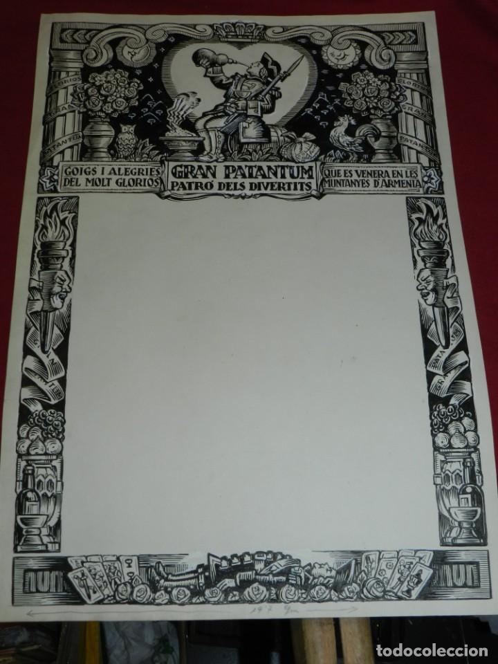 Arte: (M) DIBUJO ORIGINAL DEL GOZO DE GRAN PATANTUM PATRO DELS DIVERTITS VENERA MUNTANYES D'ARMENIA - Foto 2 - 184097791