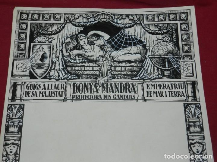 (M) DIBUJO ORIGINAL DEL GOZO DONYA MANDRA PROTECTORA DELS GANDULS S.XX (Arte - Arte Religioso - Pintura Religiosa - Otros)