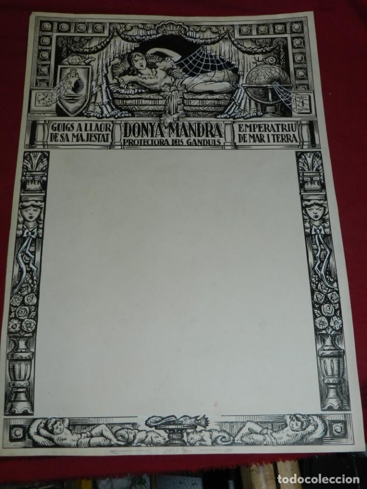 Arte: (M) DIBUJO ORIGINAL DEL GOZO DONYA MANDRA PROTECTORA DELS GANDULS S.XX - Foto 2 - 184097921