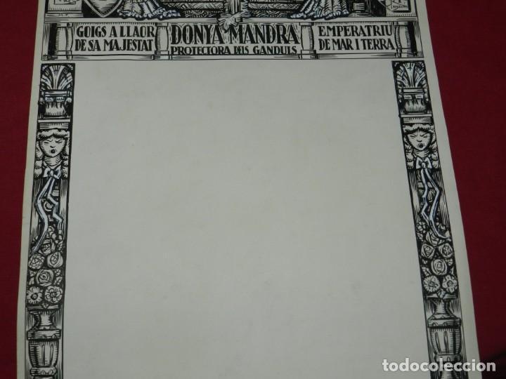 Arte: (M) DIBUJO ORIGINAL DEL GOZO DONYA MANDRA PROTECTORA DELS GANDULS S.XX - Foto 3 - 184097921