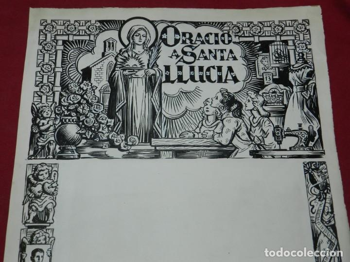 (M) DIBUJO ORIGINAL DEL GOZO DE ORACIÓ A SANTA LLUCIA S.XX, 47X33 CM, BUEN ESTADO (Arte - Arte Religioso - Pintura Religiosa - Otros)