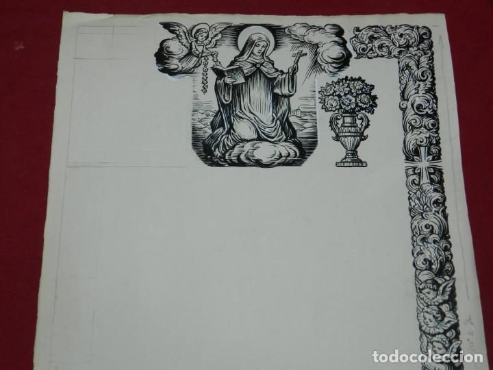 (M) DIBUJO ORIGINAL DEL GOZO DE LA VIRGEN S.XX, 47X33 CM, BUEN ESTADO (Arte - Arte Religioso - Pintura Religiosa - Otros)