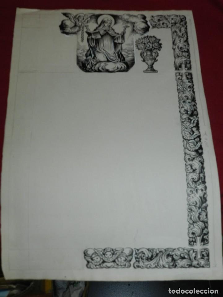 Arte: (M) DIBUJO ORIGINAL DEL GOZO DE LA VIRGEN S.XX, 47X33 CM, BUEN ESTADO - Foto 2 - 184098101