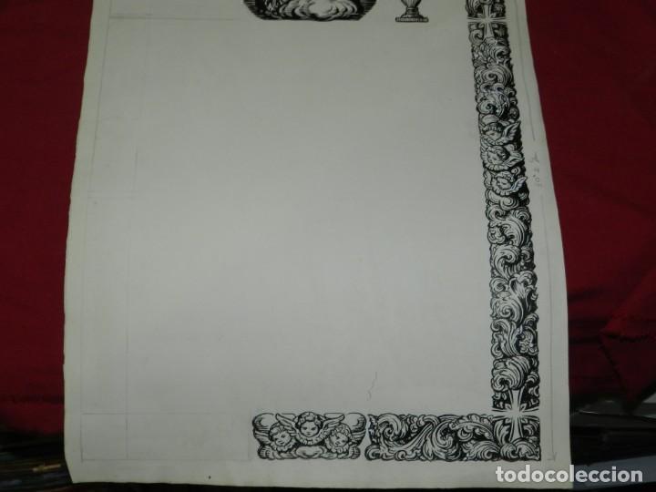 Arte: (M) DIBUJO ORIGINAL DEL GOZO DE LA VIRGEN S.XX, 47X33 CM, BUEN ESTADO - Foto 3 - 184098101