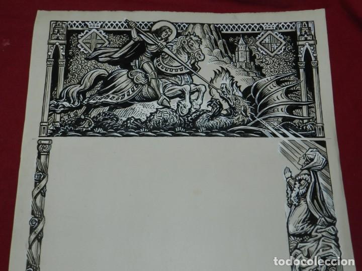 (M) DIBUJO ORIGINAL DEL GOZO DE SAN JORGE - SANT JORDI S.XX, 47X33 CM, BUEN ESTADO (Arte - Arte Religioso - Pintura Religiosa - Otros)