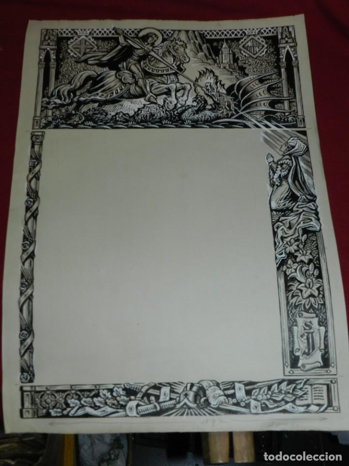 Arte: (M) DIBUJO ORIGINAL DEL GOZO DE SAN JORGE - SANT JORDI S.XX, 47X33 CM, BUEN ESTADO - Foto 2 - 184098208