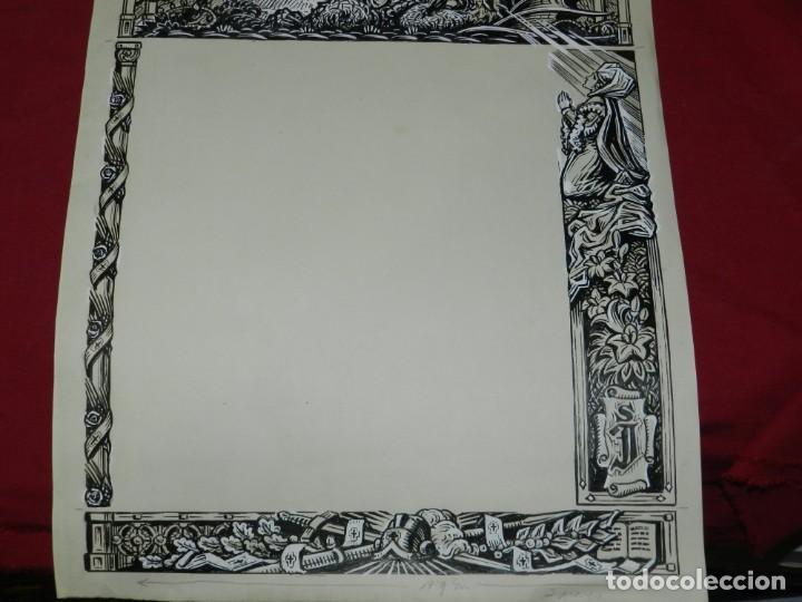 Arte: (M) DIBUJO ORIGINAL DEL GOZO DE SAN JORGE - SANT JORDI S.XX, 47X33 CM, BUEN ESTADO - Foto 3 - 184098208