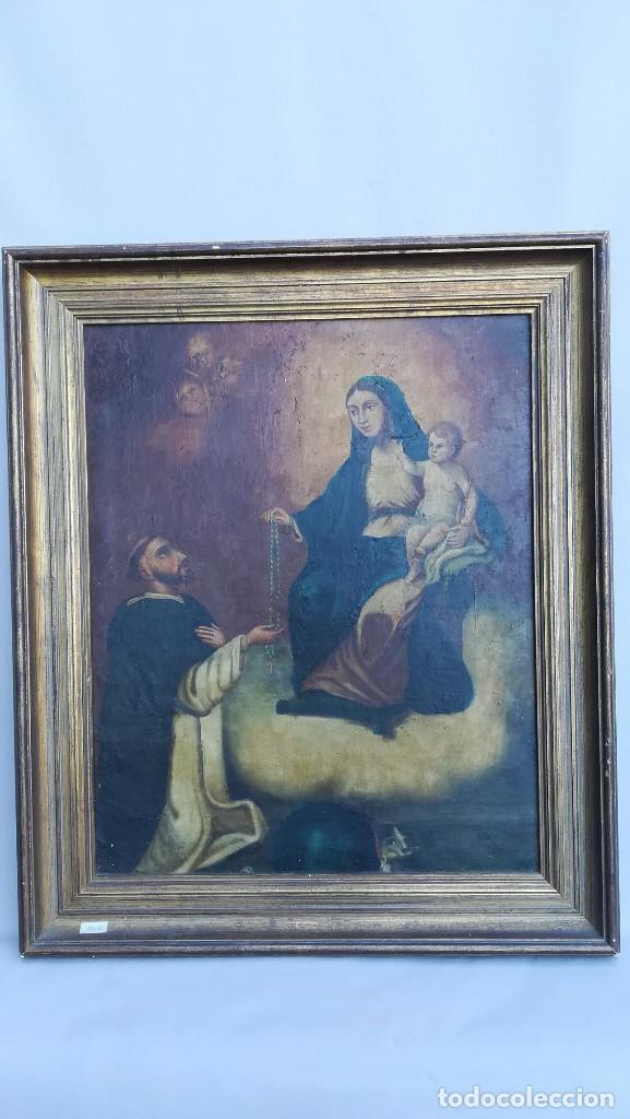 OLEO SOBRE LIENZO VIRGEN DEL ROSARIO (Arte - Arte Religioso - Pintura Religiosa - Oleo)