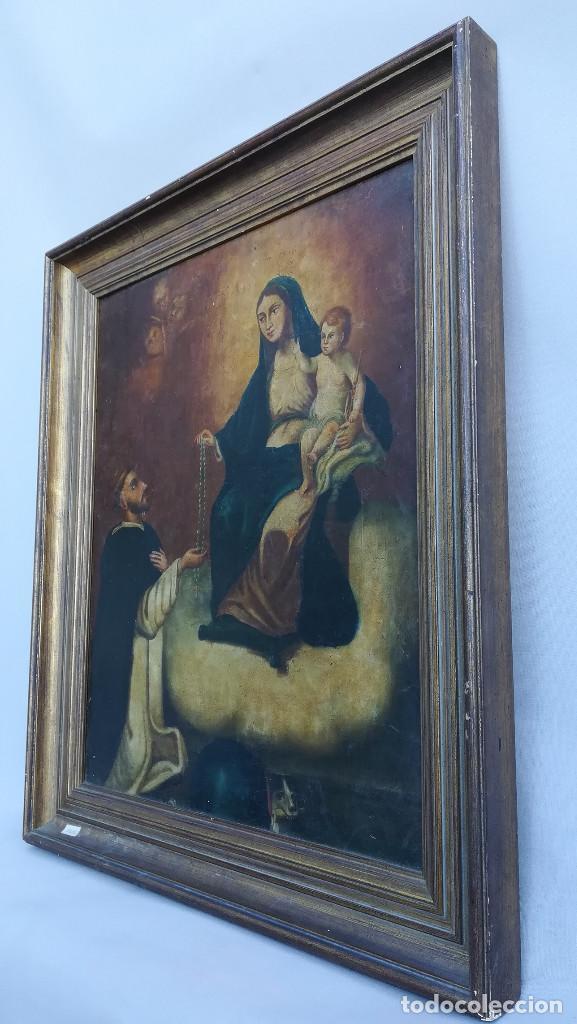 Arte: OLEO SOBRE LIENZO VIRGEN DEL ROSARIO - Foto 2 - 184108762