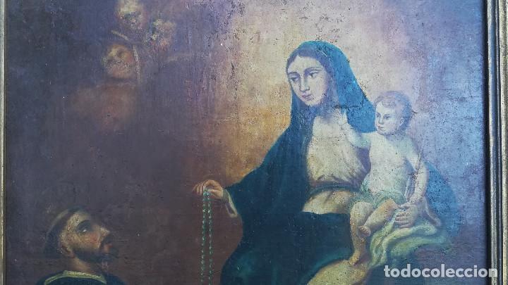 Arte: OLEO SOBRE LIENZO VIRGEN DEL ROSARIO - Foto 4 - 184108762