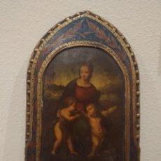 Arte: ALTAR RETABLO EN MADERA DE VIRGEN CON NIÑO -ÓLEO Y ESTUCO POLICROMADO-. Lote 184213932