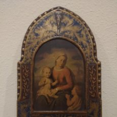 Arte: RETABLO ALTAR EN MADERA DE VIRGEN CON NIÑO -ÓLEO Y ESTUCO POLICROMADO-. Lote 184214067