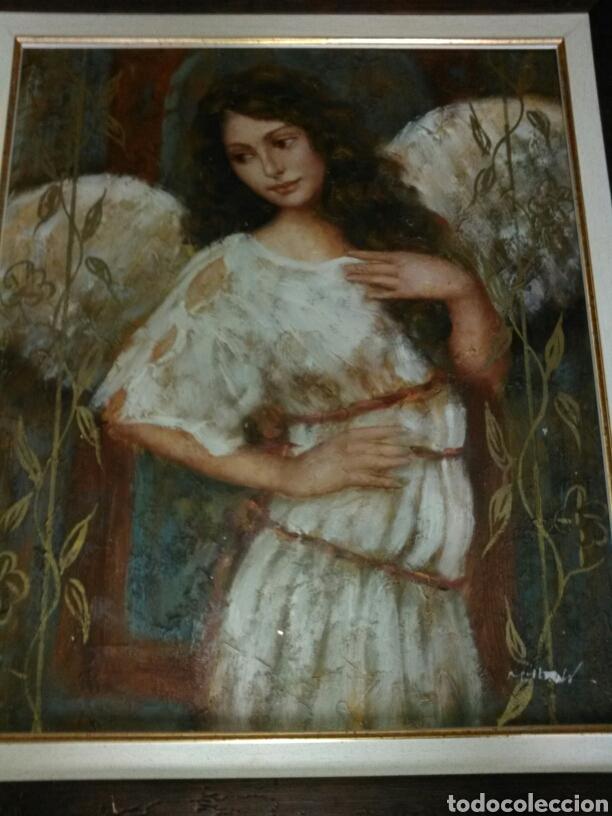 CUADRO ARCÁNGEL ÓLEO. PRECIOSO. (Arte - Arte Religioso - Pintura Religiosa - Oleo)
