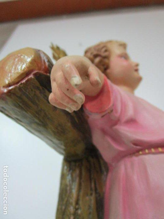 Arte: San Juanito a la Cruz- Niño Jesús - Estuco Policromado - Sello Arte Olotense, Olot -Principios S. XX - Foto 8 - 184366715
