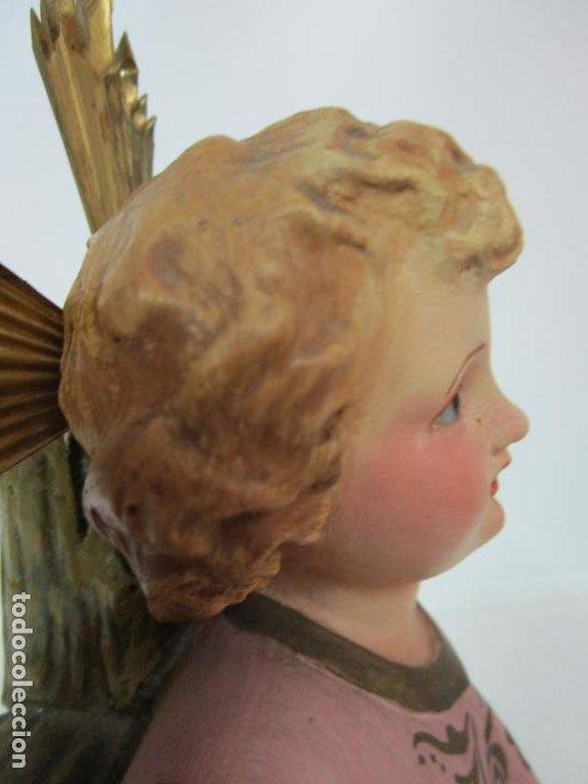 Arte: San Juanito a la Cruz- Niño Jesús - Estuco Policromado - Sello Arte Olotense, Olot -Principios S. XX - Foto 9 - 184366715