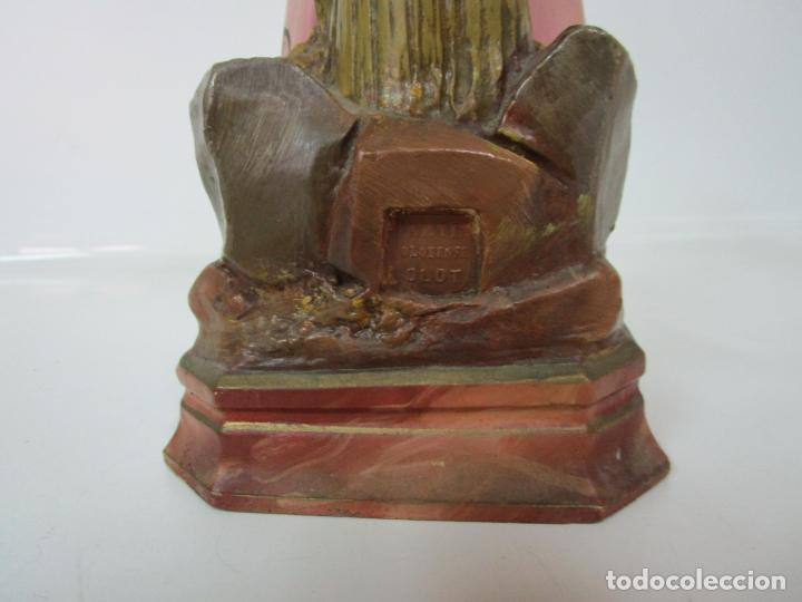 Arte: San Juanito a la Cruz- Niño Jesús - Estuco Policromado - Sello Arte Olotense, Olot -Principios S. XX - Foto 11 - 184366715