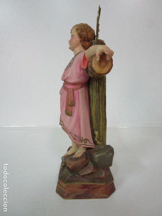 Arte: San Juanito a la Cruz- Niño Jesús - Estuco Policromado - Sello Arte Olotense, Olot -Principios S. XX - Foto 14 - 184366715