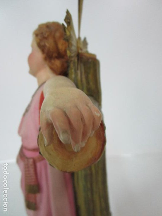 Arte: San Juanito a la Cruz- Niño Jesús - Estuco Policromado - Sello Arte Olotense, Olot -Principios S. XX - Foto 16 - 184366715